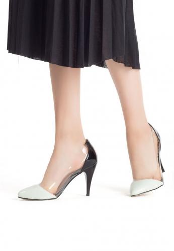 Siyah Rugan Su Yeşili Burunlu Bayan Stiletto Ayakkabı