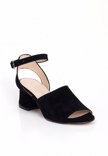 Siyah Süet Arkası Açık Küt Topuk Bayan Topuklu Ayakkabı