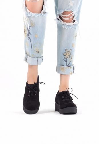 Siyah Süet Bağcıklı Bayan Oxford Ayakkabı