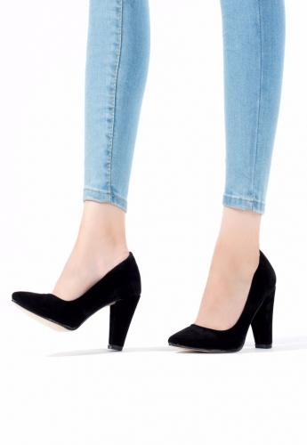 Siyah Süet Bayan Kalın Topuklu Ayakkabı
