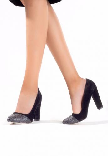 Siyah Süet Burunlu Bayan Kalın Topuklu Ayakkabı