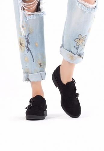 Siyah Süet Çift Tokalı Bayan Oxford Ayakkabı