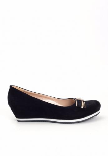 Siyah Süet Dolgu Topuk Ayakkabı