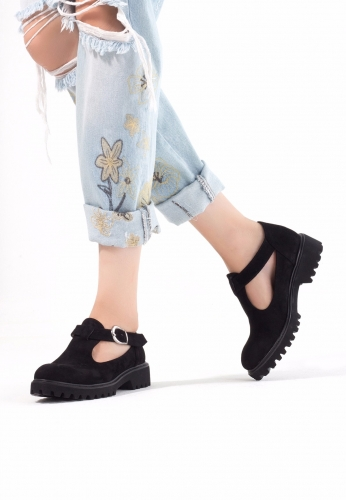 Siyah Süet Kemerli Bayan Oxford Ayakkabı