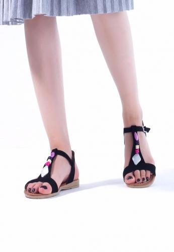 Siyah Süet Taşlı Bayan Sandalet Ayakkabı