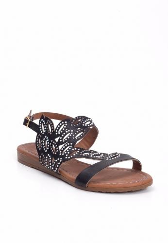 Siyah Taşlı Sandalet