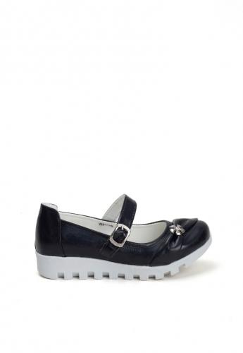 Siyah Tokalı Kemerli Çocuk Babet Ayakkabı
