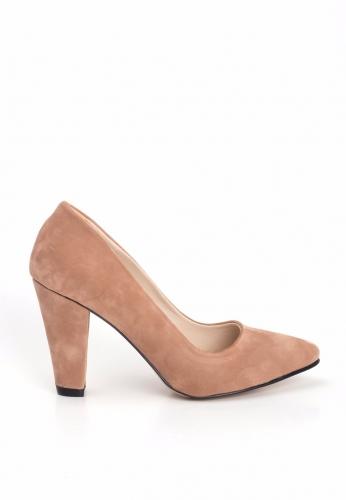 Somon Süet Bayan Kalın Topuklu Ayakkabı