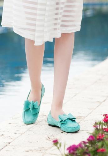Su Yeşili Kurdelalı Süet Bayan Babet Ayakkabı
