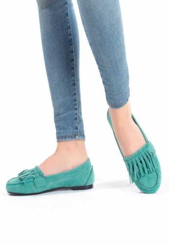 Su Yeşili Süet Püsküllü Bayan Babet Ayakkabı