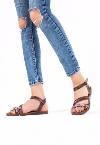 Taba Boncuk İşlemeli Bayan Sandalet Ayakkabı
