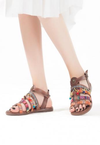 Taba İşlemeli Boncuklu Bayan Sandalet Ayakkabı