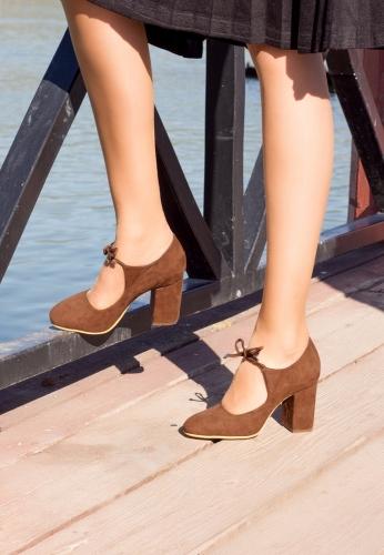 Taba Kalın Topuk Ayakkabı
