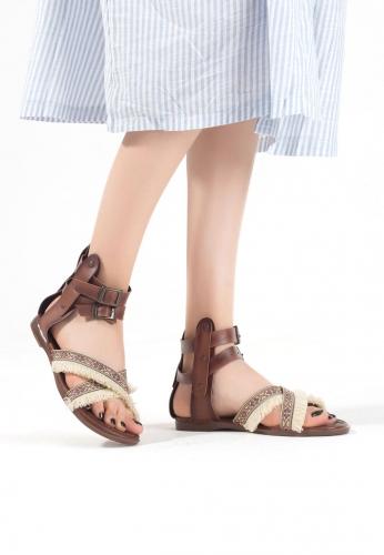 Taba Krem Püsküllü Bayan Sandalet Ayakkabı