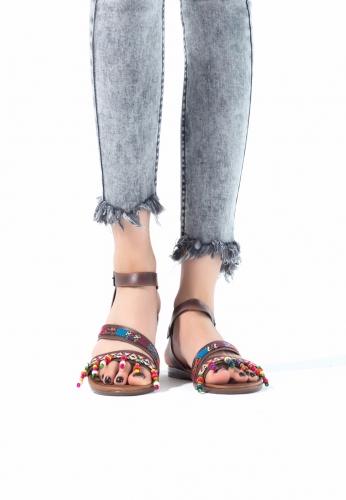 Taba Renk Boncuklu Bayan Sandalet Ayakkabı