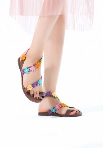 Taba Renk Çiçekli Bayan Sandalet Ayakkabı