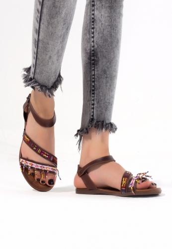 Taba Renk İnce Boncuklu Bayan Sandalet Ayakkabı