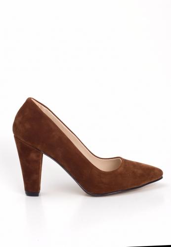 Taba Süet Bayan Kalın Topuklu Ayakkabı