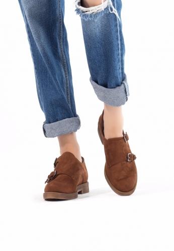 Taba Süet Çift Tokalı Bayan Oxford Ayakkabı