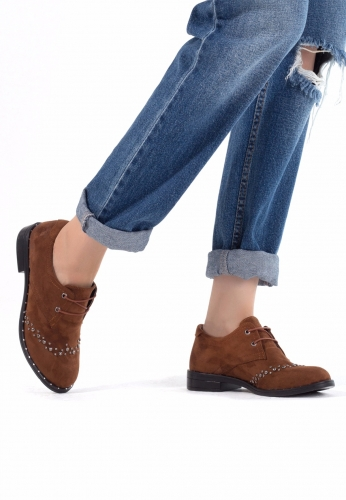 Taba Süet Zımbalı Bayan Oxford Ayakkabı