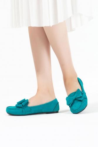 Turkuaz Kurdelalı Süet Bayan Babet Ayakkabı