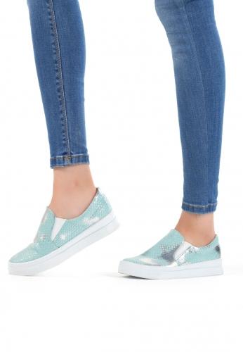 Turkuaz Renkli Bayan Spor Babet Ayakkabı