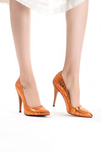 Turuncu Desenli Bayan Stiletto Ayakkabı