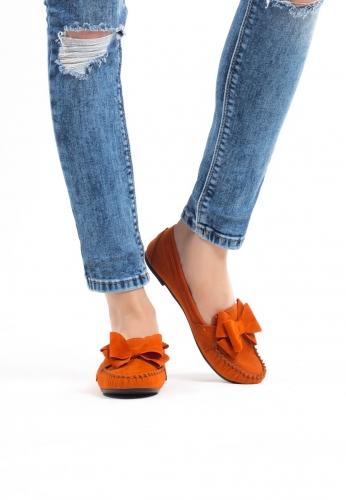 Turuncu Kurdelalı Süet Bayan Babet Ayakkabı