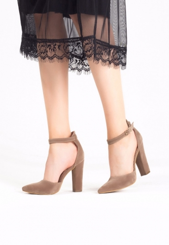 Vizon Bayan Süet Bilekten Kemerli Topuklu Ayakkabı