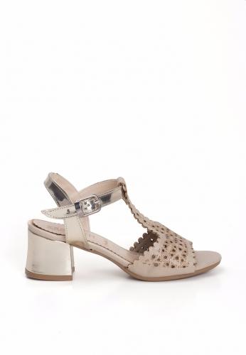Vizon Lazerli Gold Kemerli Bayan Kısa Topuk Ayakkabı