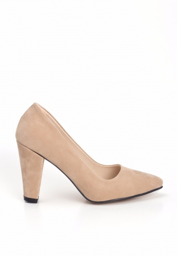 Vizon Süet Bayan Kalın Topuklu Ayakkabı