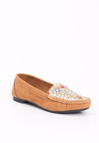 Vizon Süet Boncuk Desenli Bayan Babet Ayakkabı