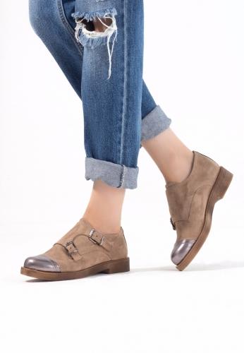 Vizon Süet Çift Tokalı Bayan Oxford Ayakkabı