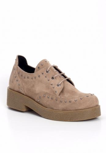 Vizon Süet Taşlı Kalın Taban Bayan Oxford Ayakkabı