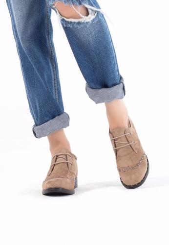 Vizon Süet Zımbalı Bayan Oxford Ayakkabı