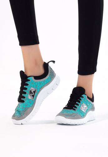 Yeşil Gri Desenli Bayan Spor Ayakkabı