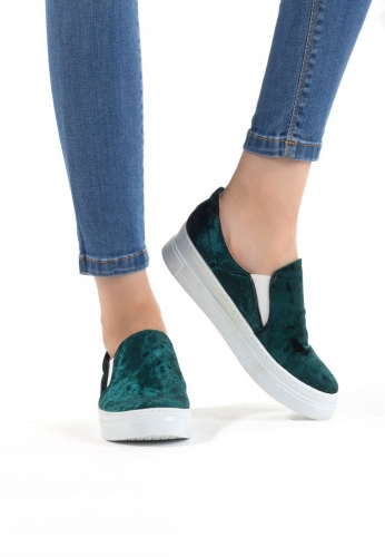Yeşil Kadife Süet Bayan Spor Babet Ayakkabı