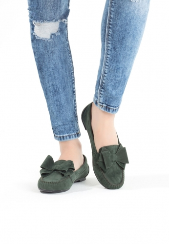 Yeşil Kurdelalı Süet Bayan Babet Ayakkabı