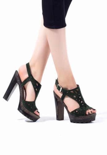 Yeşil Süet Bilekten kemerli Bayan Platform Topuk Ayakkabı