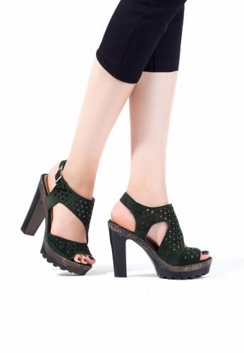 Yeşil Süet Desenli Bayan Platform Topuklu Ayakkabı