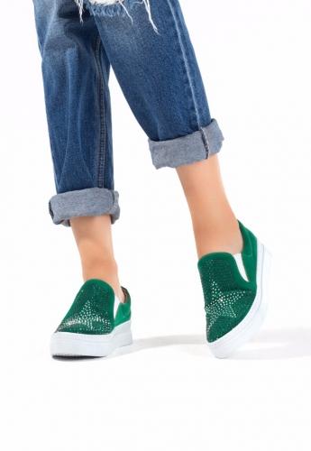 Yeşil Süet Yıldız Desenli Bayan Babet Ayakkabı